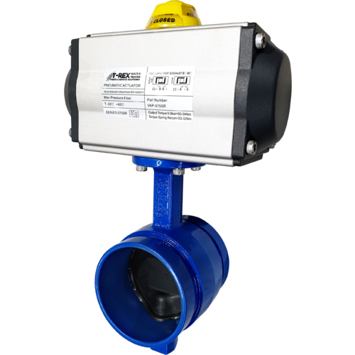Double Acting Air Actuated Grooved Butterfly Valve